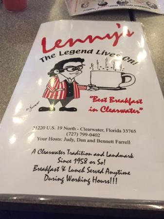 Lenny's Restaurant: Great varied menu at Lennys!