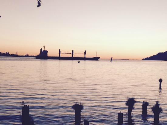 Inn at Skamokawa Landing: Large freighter at sunset.