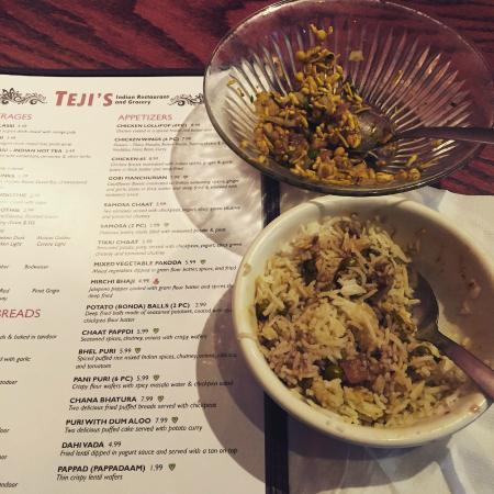 Teji's Indian Restaurant & Grocery: Delicious Apps and Curry dish