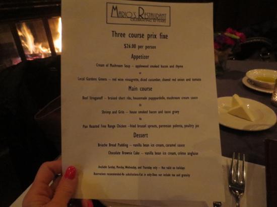 Mario's Restaurant: Prix fixes menu
