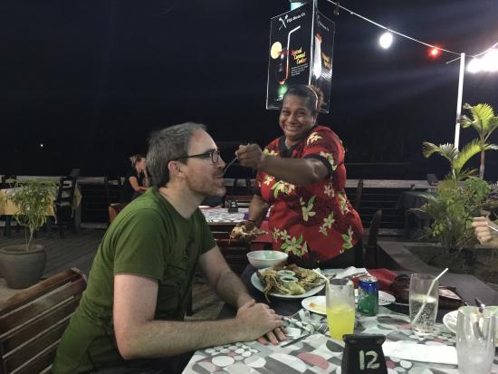 Nadina Authentic Fijian Restaurant: She spent 30mins feeding him... hilarious!