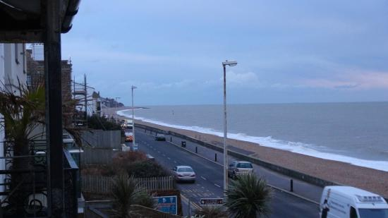 Sandgate Hotel: view from the balcony. In the day it is a busy road, but in the night quiet