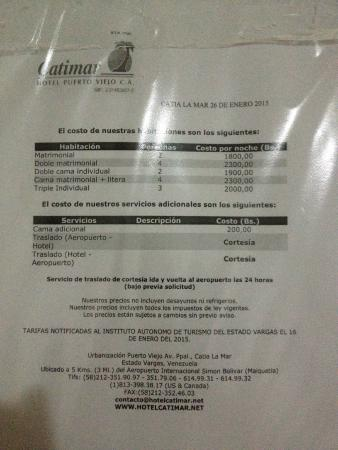 Catia La Mar, เวเนซุเอลา: Tarifas del hotel