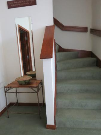 Scandinavian Lodge: stairway to loft of 3 bedroom bi level unit