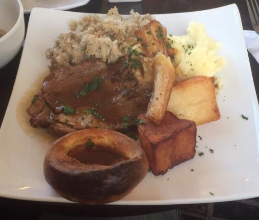 Jug & Glass: Lamb Sunday roast £9.95 well worth every penny with fresh vegetables served separately in terrin