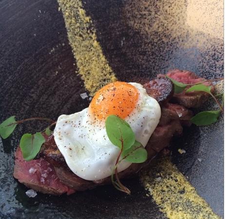 Wagyu tataki, foie gras, aji panca and a fried quail egg (should win an award for this pic)