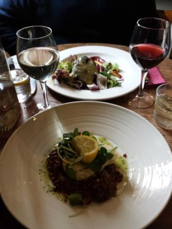 1709 the Brasserie: Cod with Puy Lentils and Staffordshire beef cheese burger