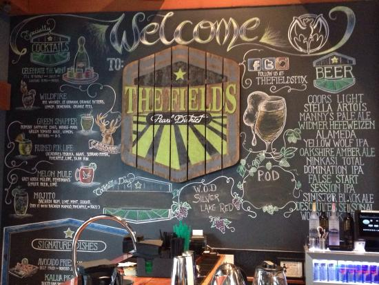 the fields bar and grill chalk board drink menu