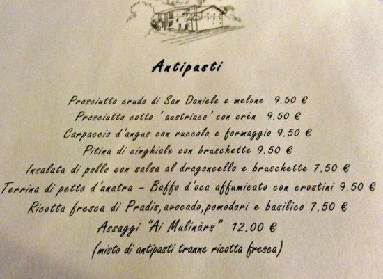 Clauzetto, Ý: Antipasti Menu