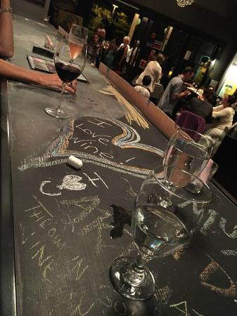 The Wine Palette: Funky chalkboard bar top makes it hard not to doodle.