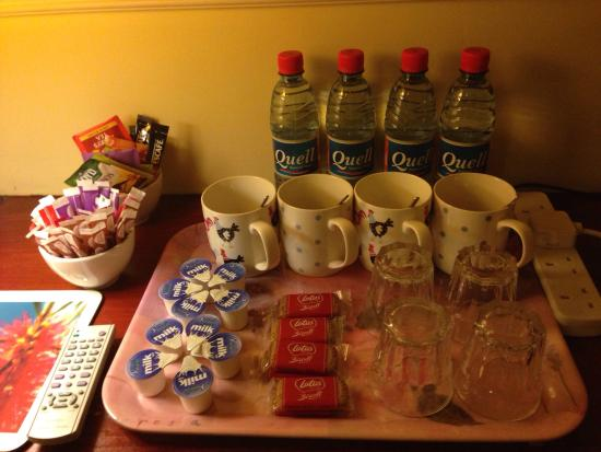 Gate Lodge Guesthouse: Fully stocked table of treats in our room