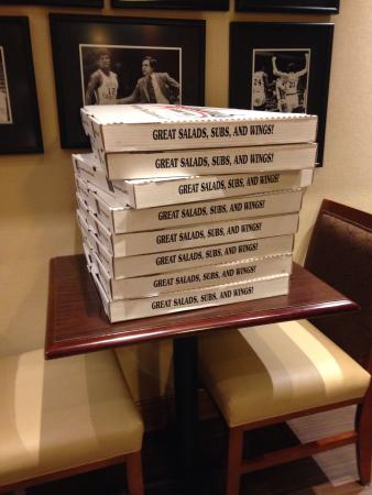 Hampton Inn and Suites Chapel Hill / Durham Area: These guys at this hotel are the real deal!! Bringing us pizza, drinks, and snacks!!!!