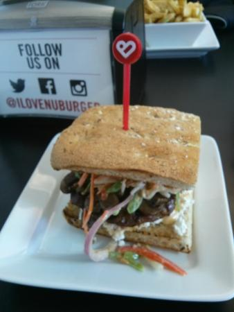 Nuburger: my Asian burger with spicy mushrooms, Asian Slaw and goat chees