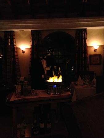 Pango Brasserie at the Fairview: Flambé at the table