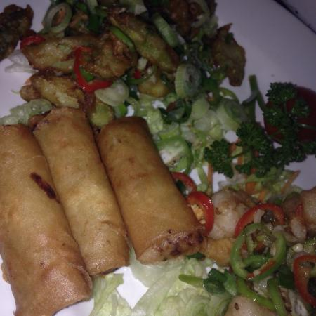 Vegetable spring rolls asapagus in batter stunning for Abstract salon tucson
