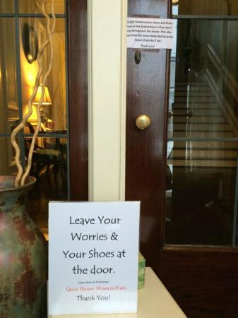 The Leonard at Logan House Bed and Breakfast: And in case you did't read the one 3 foot away!!!