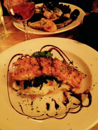 Yvonne's Cafe : Salmon with orange sauce over mashed potatoes