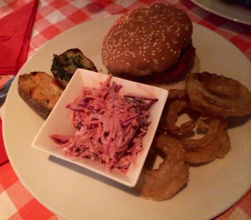 Little Phatisserie: Vegan Burger/Home-Made Slaw & Onion Rings/Jackets