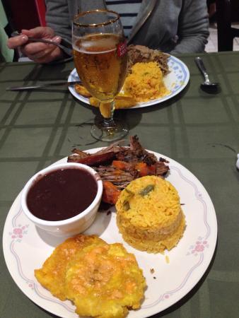 El Ambia Cubano: Boliche, platano frito, yellow rice and black beans.