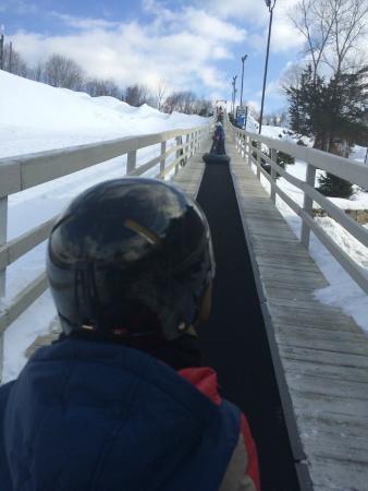 Woodbury Ski Area: Heading up the Tube conveyor carpet
