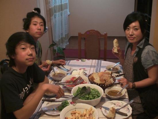 Florian Shkodra Guesthouse and Hostel : me , my younger brother and my mom having dinner
