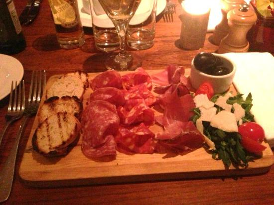 Elistano : Antipasti Platter- mixed Italian meats, Mozzarella & Olives