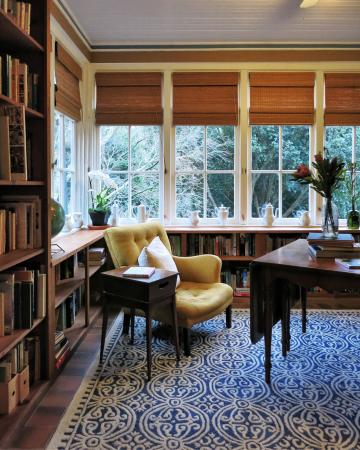 Ten Inverness Way: Cozy library adjacent to the main living room.