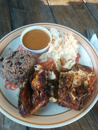Robin's Kitchen: Jerk chicken, rice and beans, coleslaw