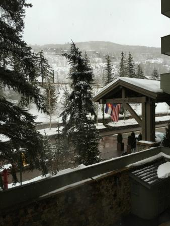 Vail's Mountain Haus at the Covered Bridge: View from the balcony from room 217 facing the highway