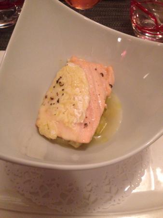 La Courtine: Saumon au st Marcelin sur lie fondu de poireaux !jutes bon  La gourmandise me dirais + de st Ma