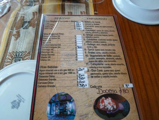 La Casa de las Empanadas Cafayate : Carta