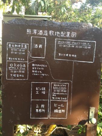 Mokichi Trattoria : 敷地内の地図。レストランとパン屋、酒造工場などがあります