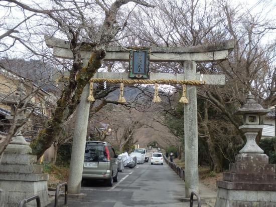 Sagimori Jinja Shrine: 参道入口の石鳥居