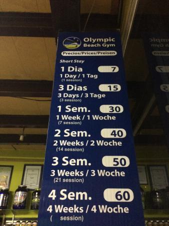 Olympic Beach Gym: Precios por Sesion