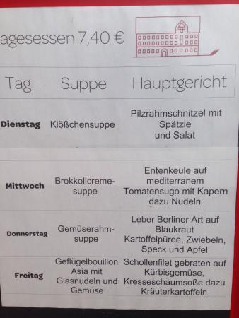 Lauchheim, Alemanha: Mittagskarte