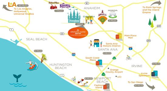 Area Map Picture of SpringHill Suites at Anaheim Resort Convention