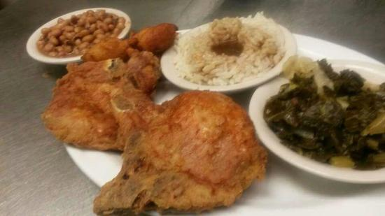 Shirley S Diner Fried Pork Chops With Rice And Gravy Blacks Eyed Peas And Collards