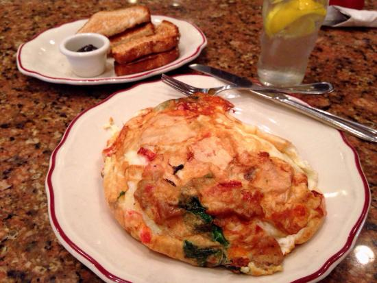 Original Pancake House: Spinach, mushroom, feta cheese baked omelette. Awesome!