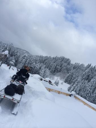 Le Chalet Chanterelle : Ski-doo to the road with cases!