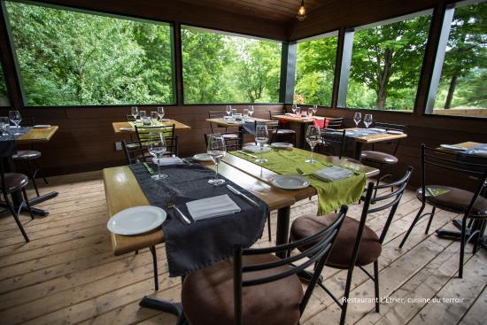 Restaurant L'etrier: terrasse en bordure de la forêt