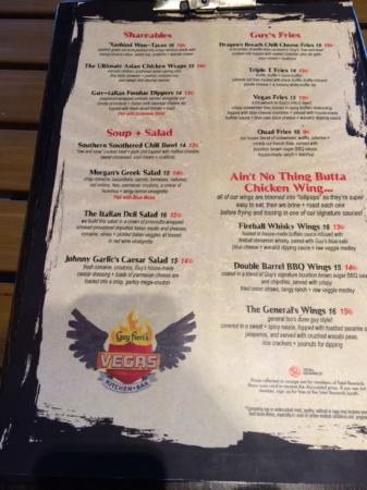 Guy Fieri Kitchen Las Vegas Menu