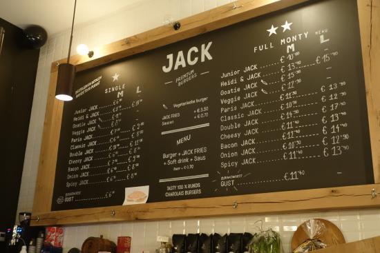 JACK Premium Burgers Gent: Menu