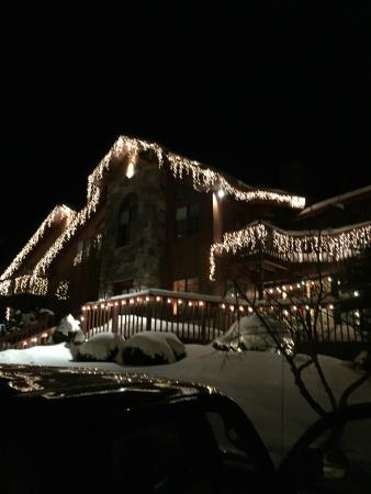 Snowed Inn: Front View of Inn at night