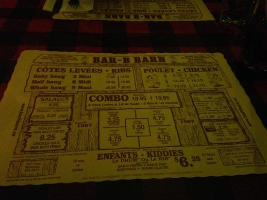 Menu - Picture of Bar B Barn, Montreal - TripAdvisor