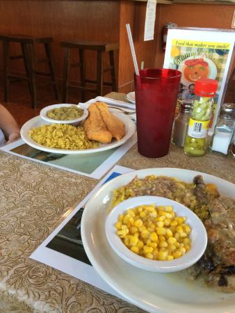 Granny's Kitchen: Fried fish, saffron rice and lima beans and baked chicken with rice and corn.