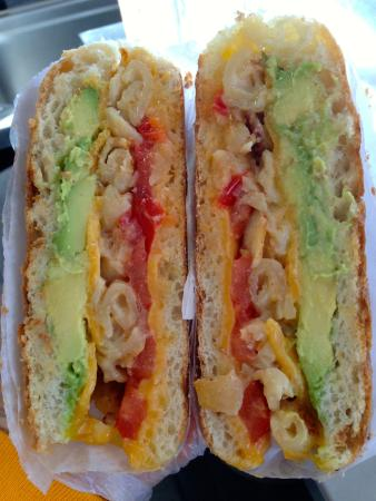 Grilled Cheese Mania: The Trotta Cado- Cheddar Cheese, Tomato, Avocado, Grilled Mac & Cheese.