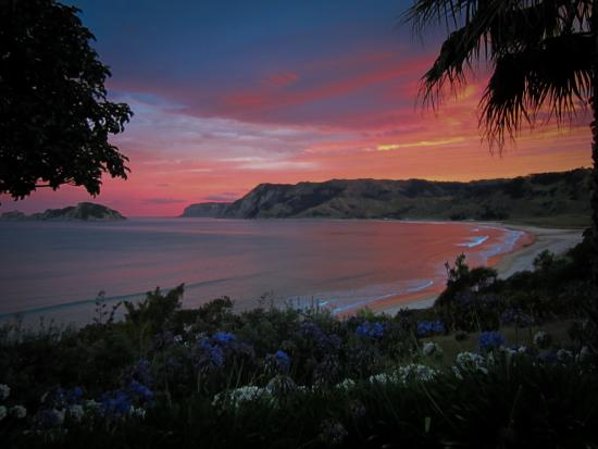 Anaura Bay, New Zealand: Sunset from the front of Rangimarie