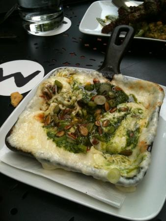 "Willi's Seafood & Raw Bar : ""Melted Cheese"" with Chorizo, & Cilantro Pesto"