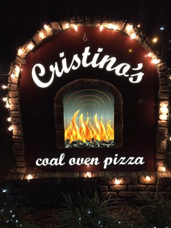 Cristino's Coal Oven Pizza: Road sign out front