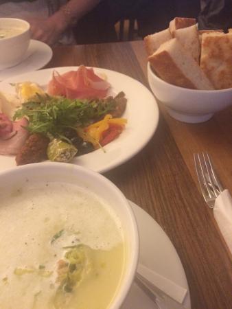 focacceria AG : Potato leek soup , the assorted platter and the crispy soft bread